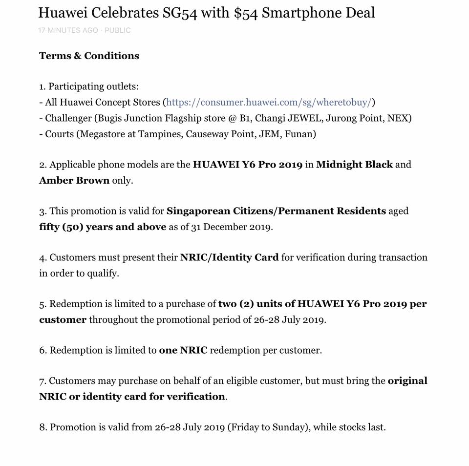 Huawei's $54 For Y6 Pro Phone National Day Promotion Sold
